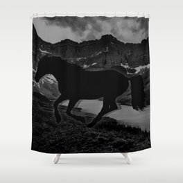 Monochrome Mustang Shower Curtain