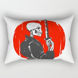 Samurai skull illustration -  black and white Rectangular Pillow