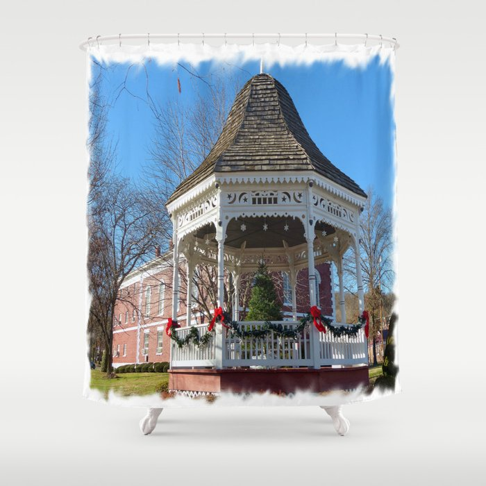 Gazebo & Courthouse Dressed for the Holidays Shower Curtain