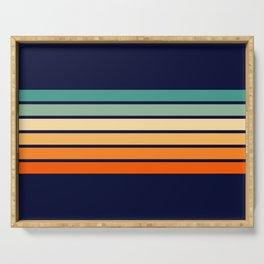 Marynda - Classic Colorful 70s Vintage Style Retro Summer Stripes Serving Tray