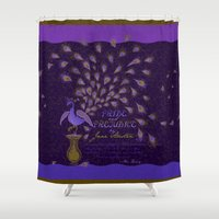 pride and prejudice Shower Curtains featuring Paisley Peacock Pride and Prejudice: Royal by DoodleHeadDee