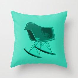 Rocker Chair Blue Throw Pillow