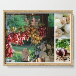 Drying Onions and Vegetable Collage - Kitchen Decor Serving Tray