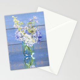 Rustic Hydrangea In Mason Jar Stationery Cards