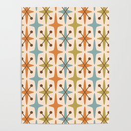 Mid Century Modern Abstract Star Pattern 441 Orange Brown Blue Olive Green Poster