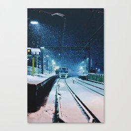 Shimotakaido Station Snow Canvas Print