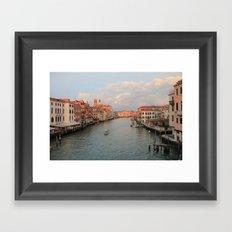Venetian canal at sunset Framed Art Print