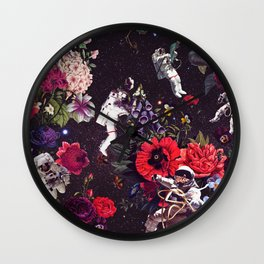Flowers and Astronauts Wall Clock