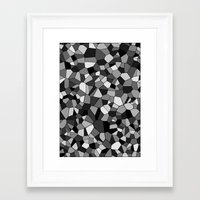 gray pattern Framed Art Prints featuring Gray Monochrome Mosaic Pattern by Margit Brack