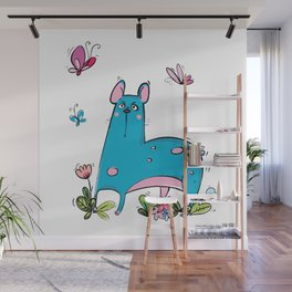"Blue Dog ""Wow"" Wall Mural"