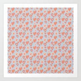 Vintage pop Hearts Pattern Art Print