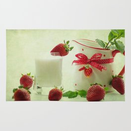 Country-style still life of fresh fruit Rug