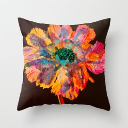 Psychedelic Floral Dew Throw Pillow