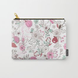 Fuchsia pastel green white abstract floral illustration Carry-All Pouch