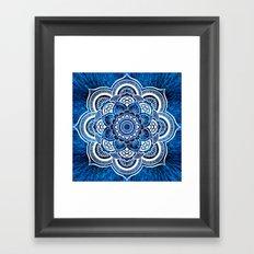 Mandala Cerulean Blue Colorburst Framed Art Print