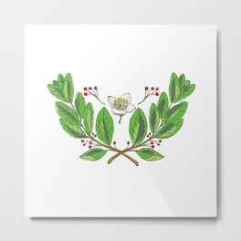 Yerba Mate Flower Leaf and Fruit Drawing Metal Print