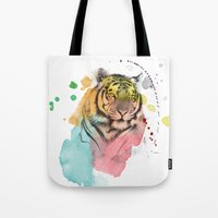 tiger Tote Bags featuring tiger by mark ashkenazi