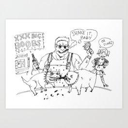 """Dookie Nukem"" lineart (Farts 'N' Crafts episode 1) Art Print"