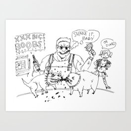 """Dookie Nukem"" lineart (Farts 'N' Crafts episode 1) Art Print"