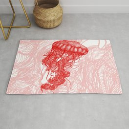 Jellyfish (Red on White Variant) Rug