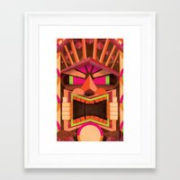 tiki Framed Art Prints featuring Tiki by Cimone Key