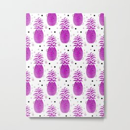 Purple Pineapple Pattern Metal Print