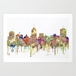 Fresno, California Skyline - Faded Glory Art Print