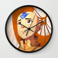 aang Wall Clocks featuring Avatar Aang, Vector Style! by bdgraph