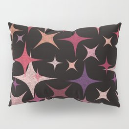 Shimmering Purple, Red, Pink and White Stars Pillow Sham