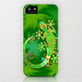 Gecko Lizard Colorful Tattoo Style iPhone Case