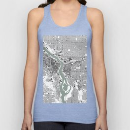 Portland, OR City Map Black/White Unisex Tank Top