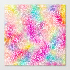 Bright neon pink turquoise purple yellow watercolor white floral illustration pattern Canvas Print