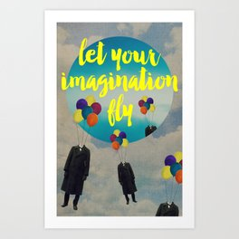Vintage Quotes Collection -- Let Your Imagination Fly Art Print
