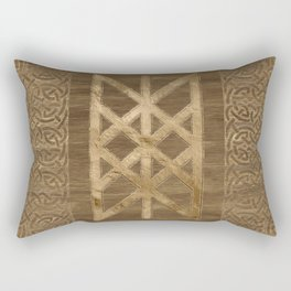Web of Wyrd The Matrix of Fate - Gold and Wood Rectangular Pillow