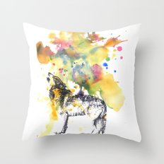 Howling Wolf in Splash of Color Throw Pillow