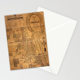 Map Of Omaha 1878 Stationery Cards