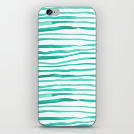 Irregular watercolor lines - turquoise iPhone Skin