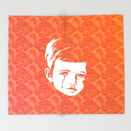 Faces - crying gypsy boy on a red and orange floral background Throw Blanket