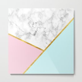Geometric marble with gold leaf, pink and blue Metal Print