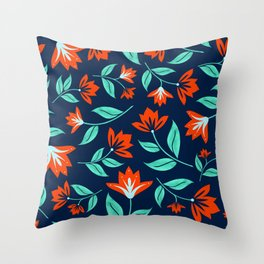 Japanese Floral Print - Red and Navy Blue Throw Pillow