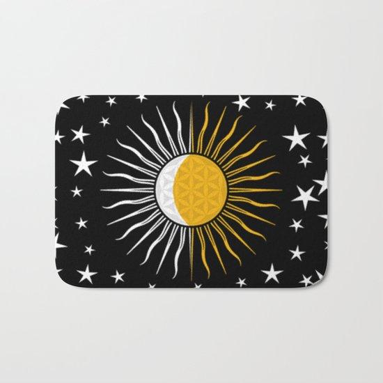 Lunar-Sol Flower Of Life Sun Moon & Stars Black White Yellow Bath Mat