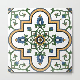 Spanish Tile Pattern – Andalusian ceramic from Seville Metal Print