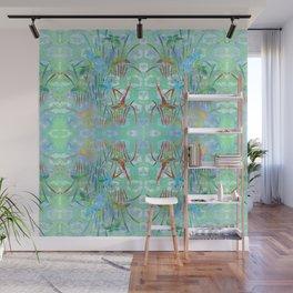 Spring Batik Butterfly Stencil Art Print | Chinoiserie Chic Watercolor Design  -  Jade Green  Wall Mural