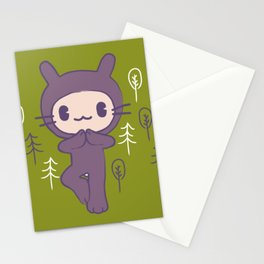 Yoga Pose Tree Bunny Stationery Cards