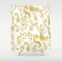 Gold Paisley Floral Shower Curtain