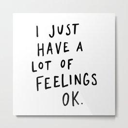 Feelings White Metal Print