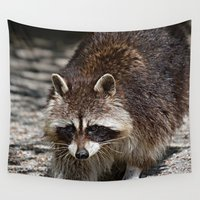 racoon Wall Tapestries featuring Racoon by MehrFarbeimLeben