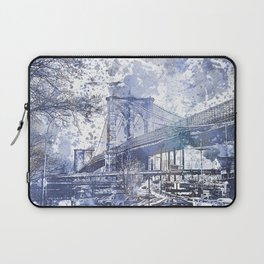Brooklyn Bridge New York USA Watercolor blue Illustration Laptop Sleeve