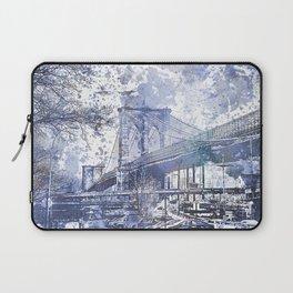 Brooklyn Bridge New York USA Watercolor blue Illustration Laptop Sleeve