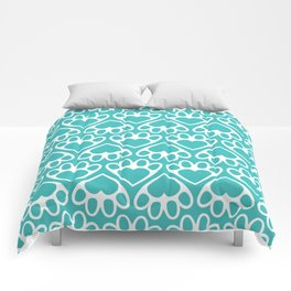 Paw Prints on my Heart - in Cyan Comforters